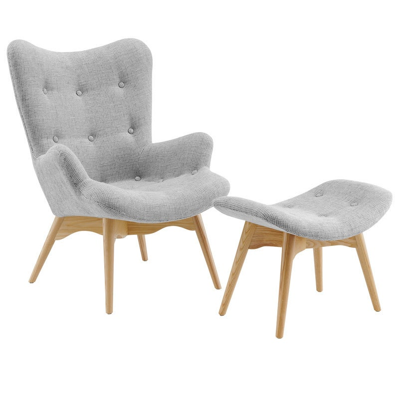 DukeLiving Grant Featherston Replica Contour Lounge Chair & Ottoman Platinum Model (Light Grey)