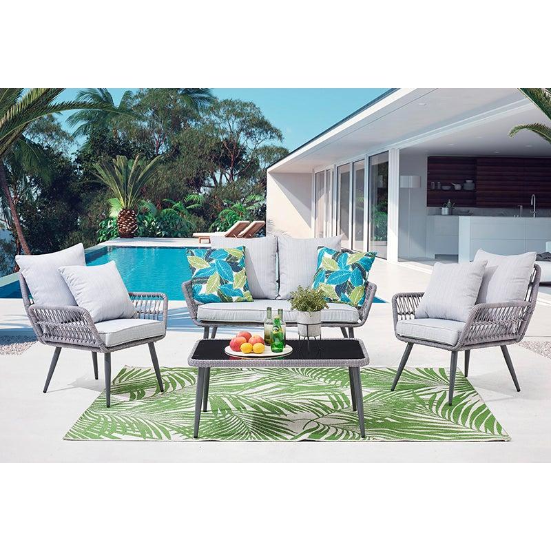 DukeLiving Kauai Outdoor Rope 4 Seater Lounge Setting