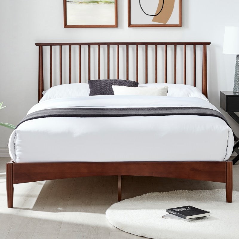 Dukeliving Oslo Nordic Spindle Timber, Walnut Spindle Bed Queen