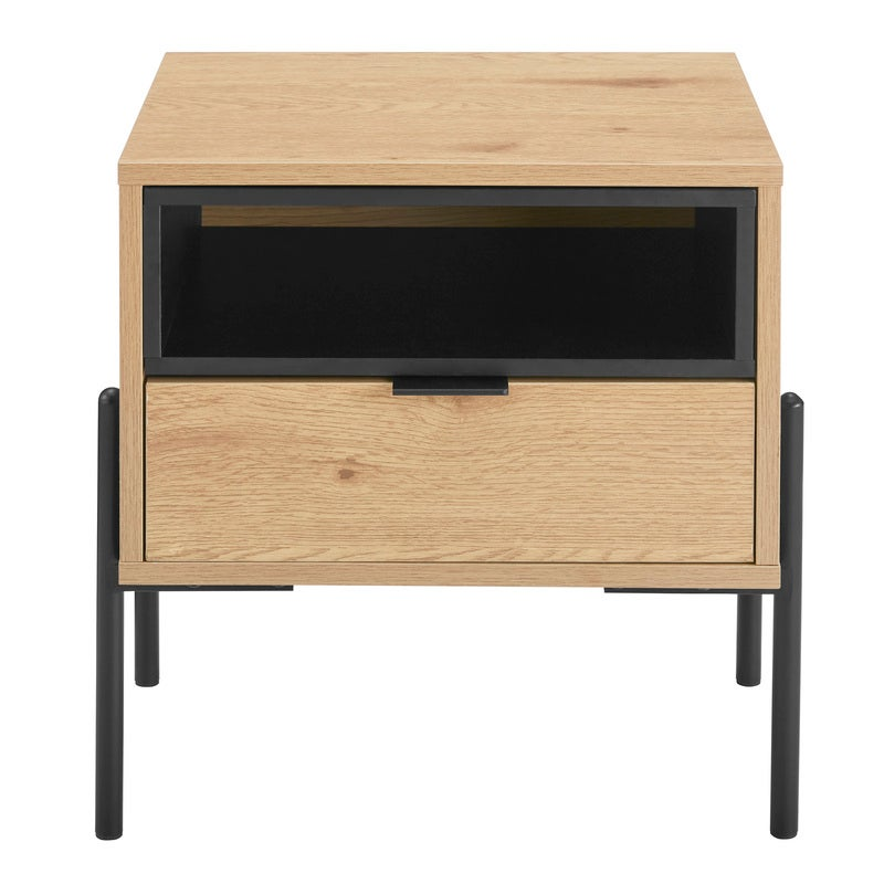 DukeLiving Oslo Oak Single Drawer Modern Bedside Table