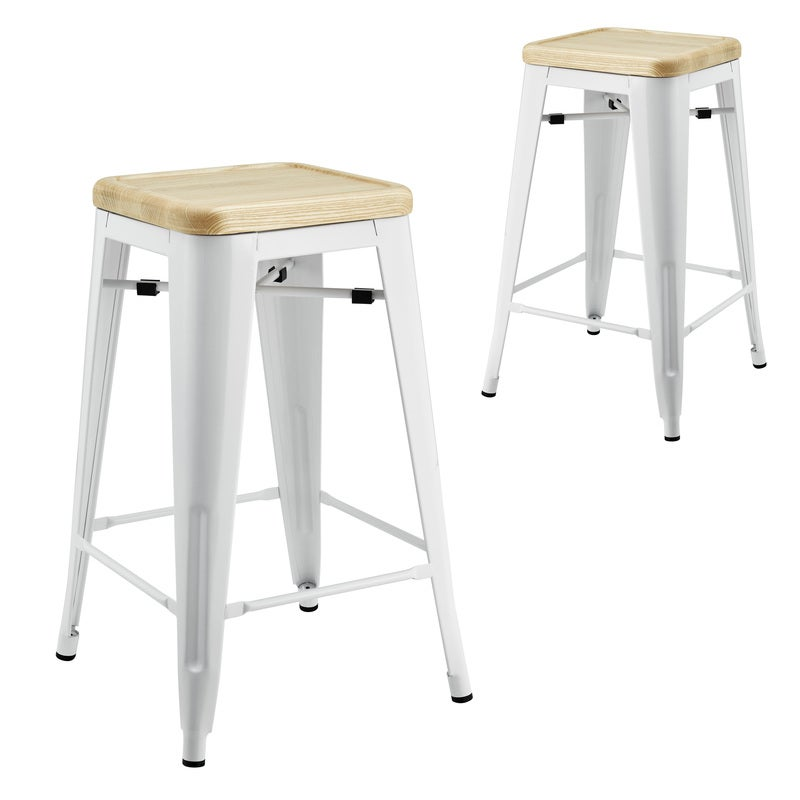 DukeLiving Tolix Replica Bar Stool with Ash Timber Seat White (Set of 2)