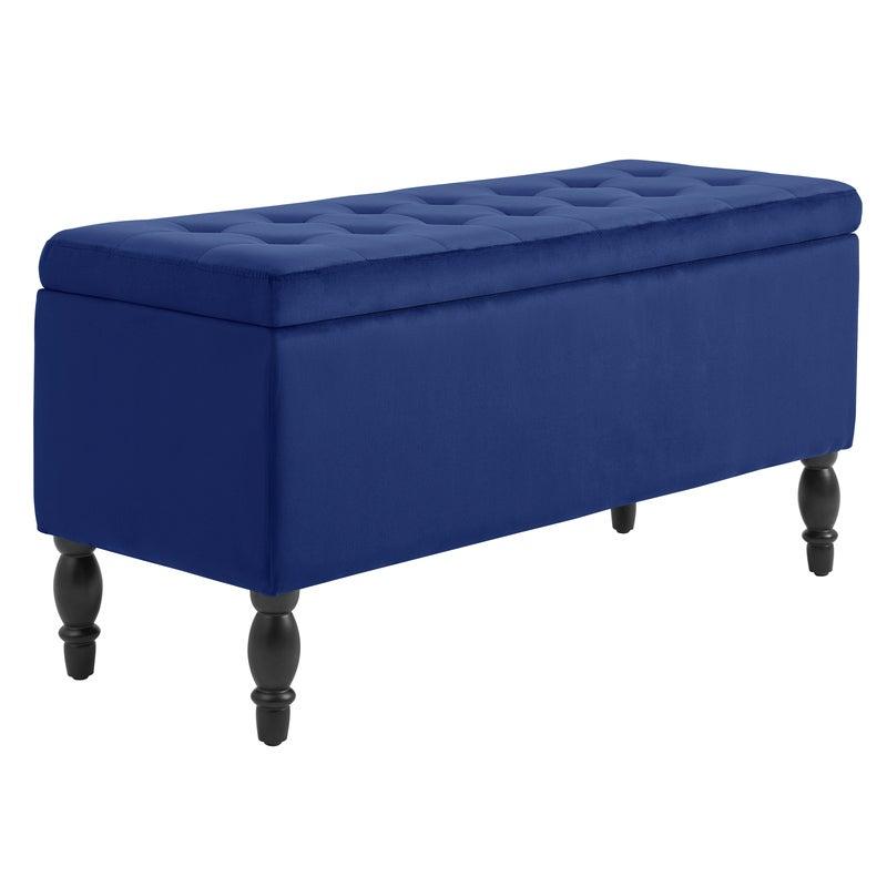 DukeLiving Watson Velvet Luxe Bed Bench Storage Ottoman (Blue)