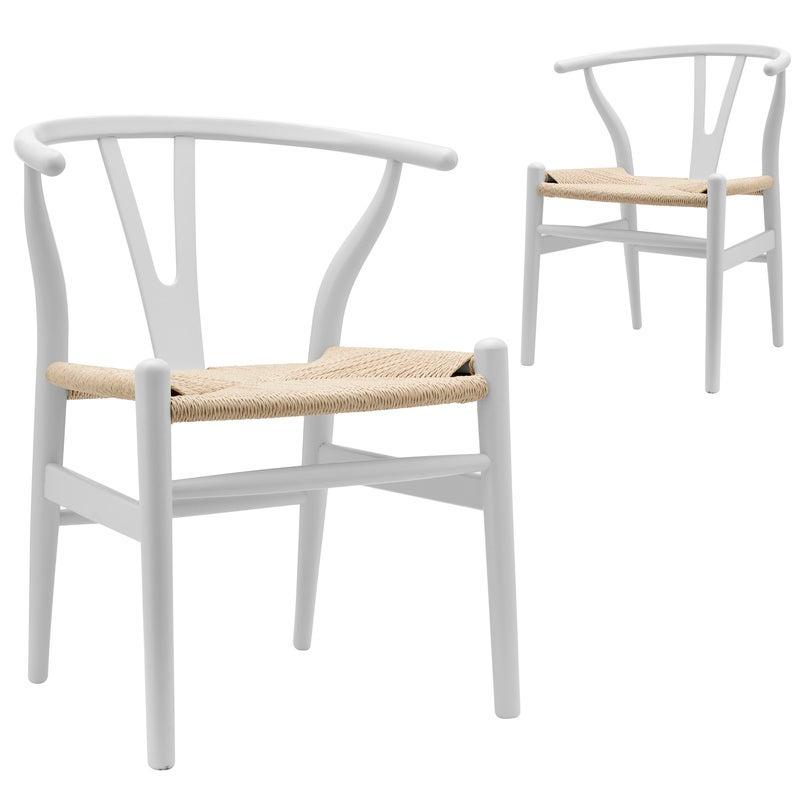 DukeLiving Replica Hans Wegner Wishbone Chairs White & Natural (Set of 2)