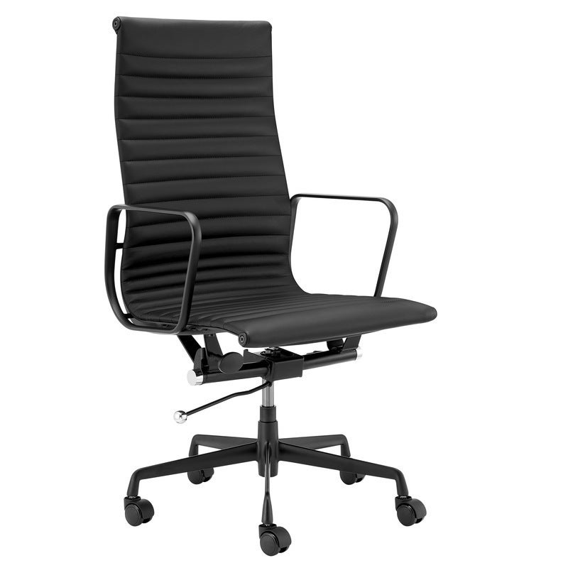 ErgoDuke Deluxe Eames Replica High Back Ribbed Leather Management Office Chair (Black)