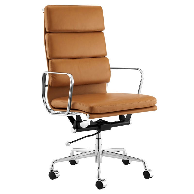 ErgoDuke Eames Premium Replica High Back Leather Soft Pad Management Office Chair (Tan)