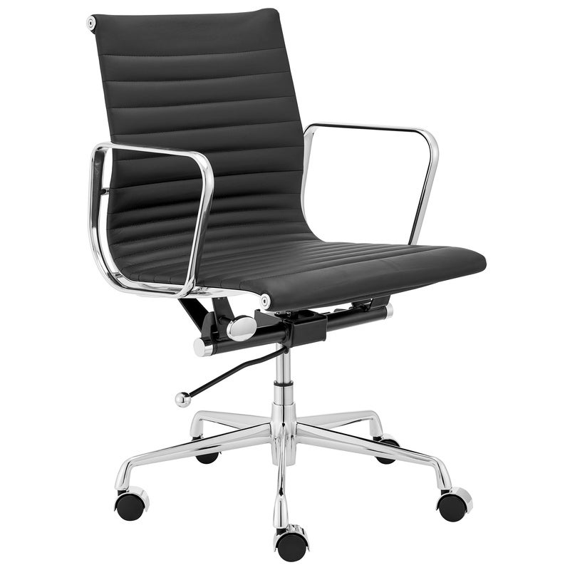 ErgoDuke Eames Replica Low Back Ribbed Leather Management Office Chair (Black)