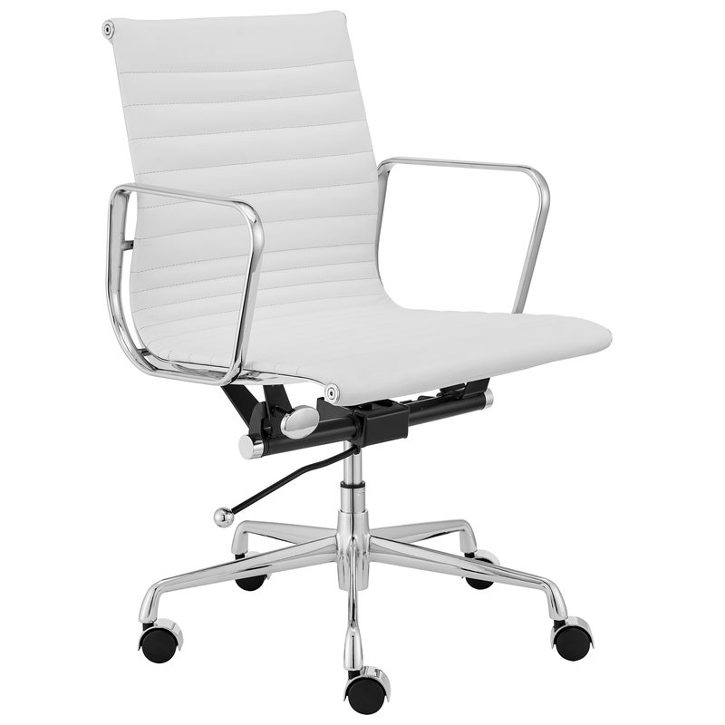 ErgoDuke Eames Premium Replica Low Back Ribbed Leather Management Office Chair (White)