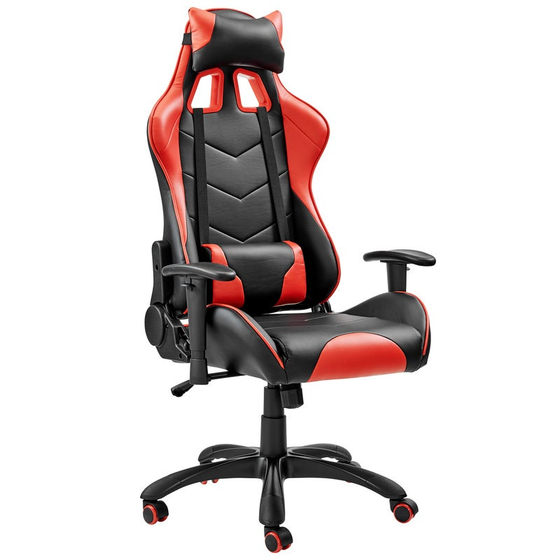 ErgoDuke Jedi Thunder Racing PU Leather Seat Gaming Office Chair (Red & Black)