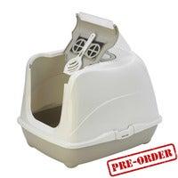Moderna Flip Cat Enclosed Cat Litter Box, Warm Grey