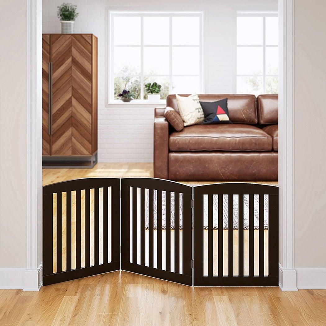 Freestanding Pet Dog Puppy Gate Wooden 3 Panel Barrier Security Gate Door Brown