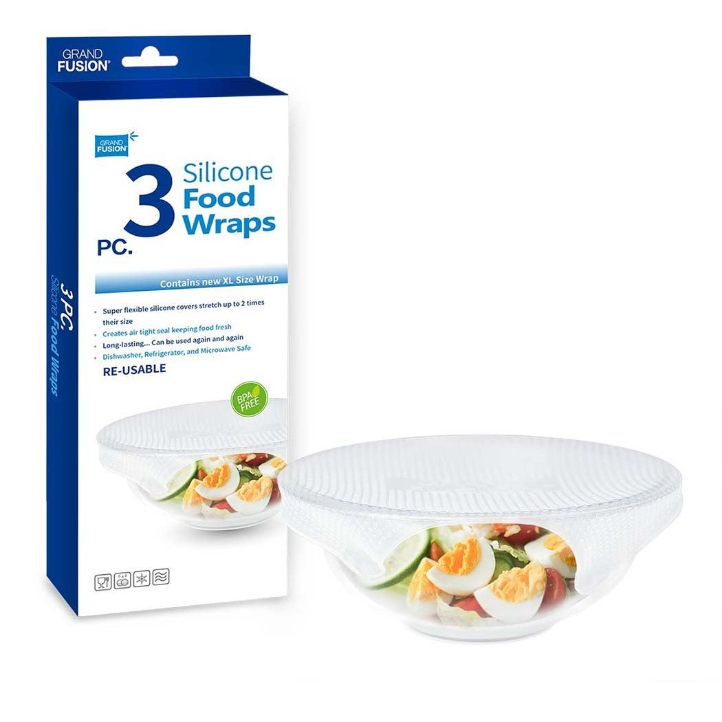 Grand Fusion 3 Pack Silicone Food Wraps XL Reusable Food Bowl Covers Wrap Seal