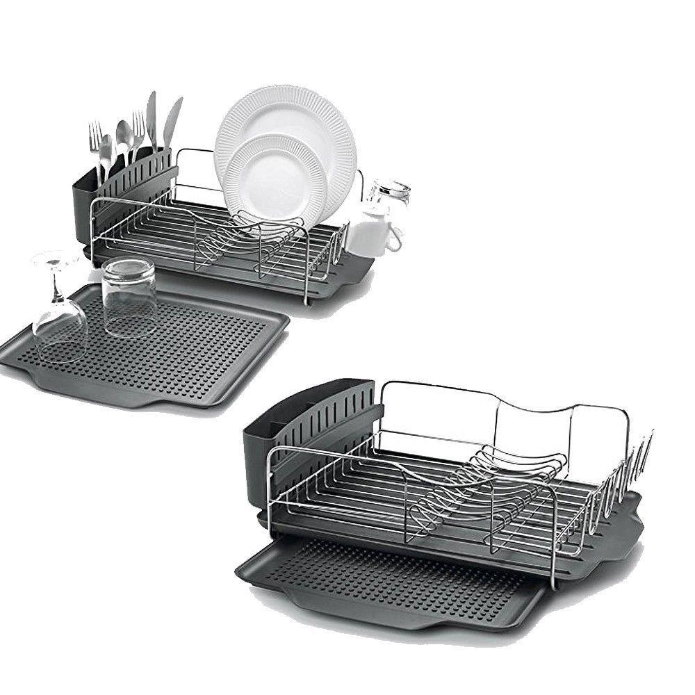 Polder Advantage Dish Drying Rack 4pc S/Steel Cutlery Drainer Drain Tray