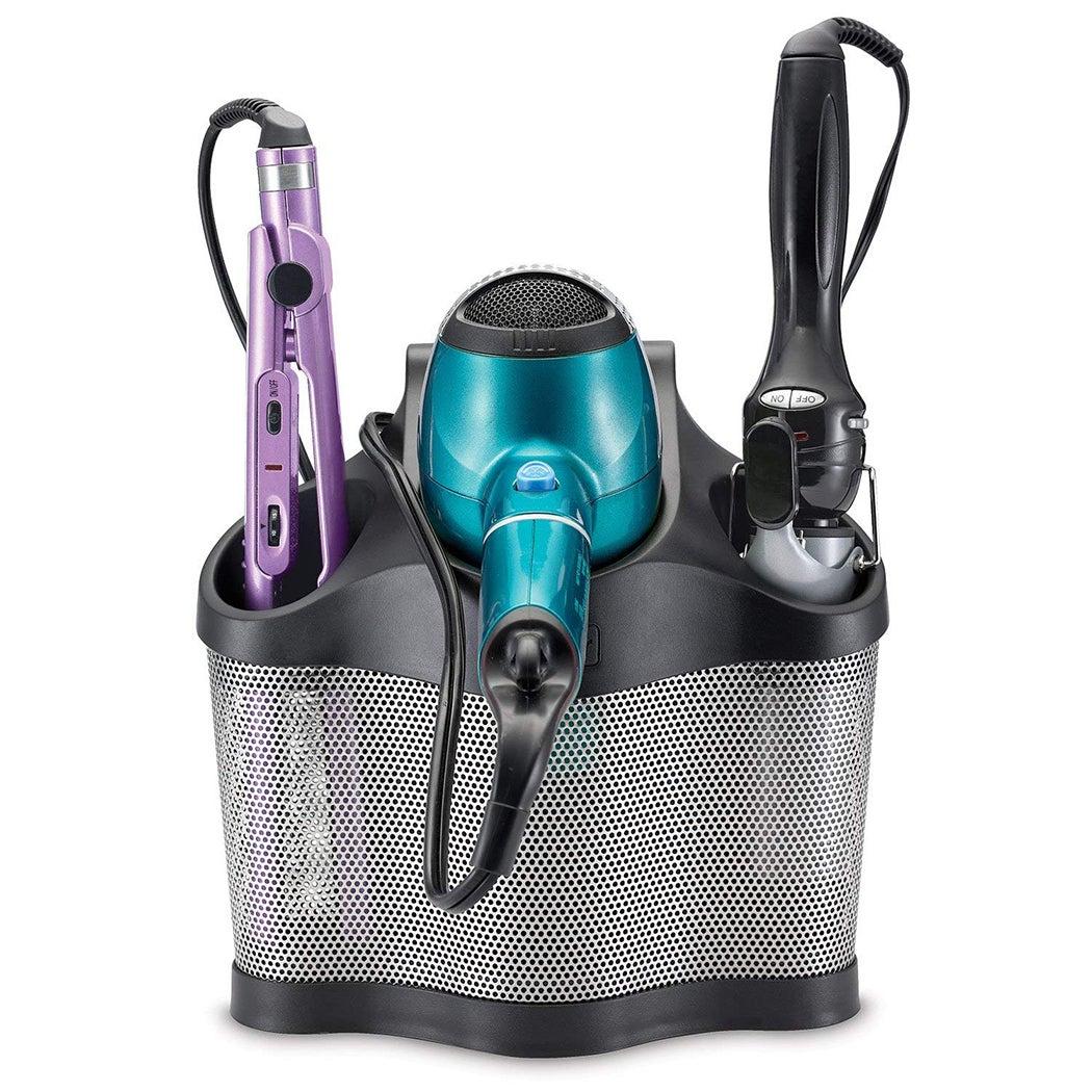 New Polder Style Station Hair Dryer Straightener Curler Storage Black Holder