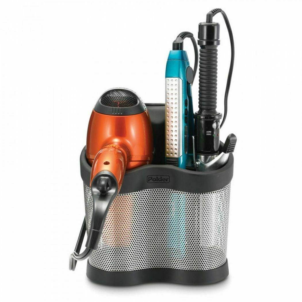 New Polder Styling Station Hair Dryer Straightener Curler Storage Black Bathroom