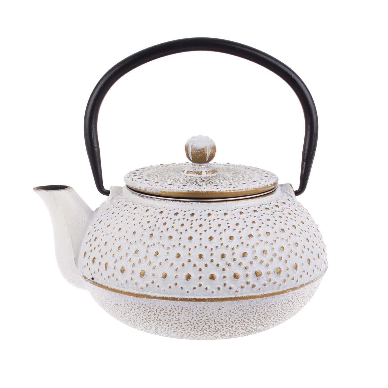 Teaology Cast Iron Teapot 600ml Tea Pot Kettle Strainer White