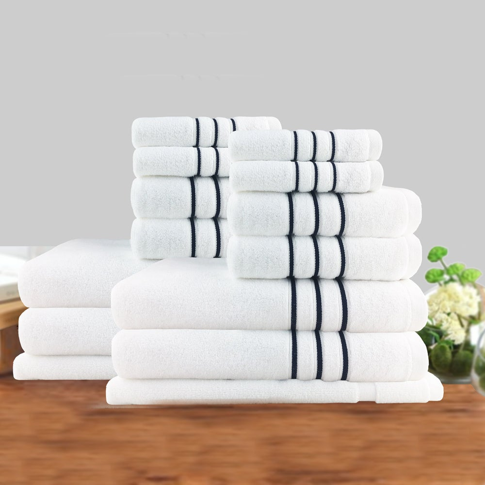 7PC or 14PC Classic Dobby Stripe Cotton Towel Set 650GSM