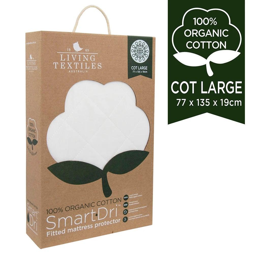 Living Textiles Organic Cotton Large Cot Smart-Dri™ Waterproof mattress protect