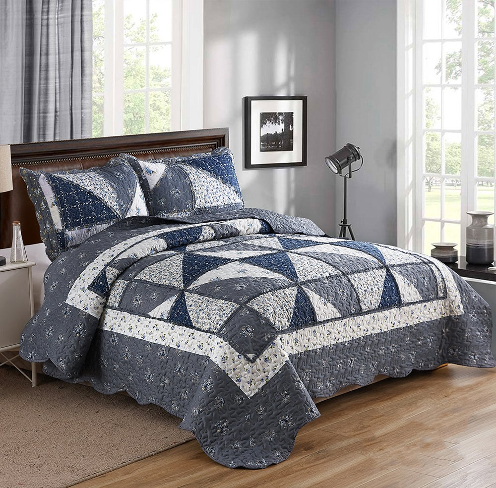Chic Microfibre Coverlet / Bedspread Set Comforter Patchwork Quilt for King & SuperKing Size bed 270x250cm Y35