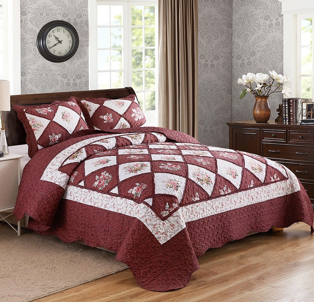 Chic Microfibre Coverlet / Bedspread Set Comforter Patchwork Quilt for King & SuperKing Size bed 270x250cm Y37