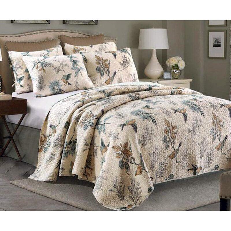 Luxury 100% Cotton Coverlet / Bedspread Set Quilt Queen King Size Bed 230x250cm Bird