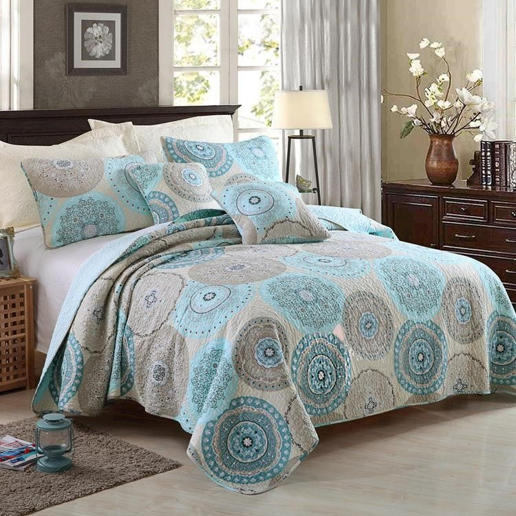 Luxury 100% Cotton Coverlet / Bedspread Set Quilt Queen King Size Bed 230x250cm Circle Blue