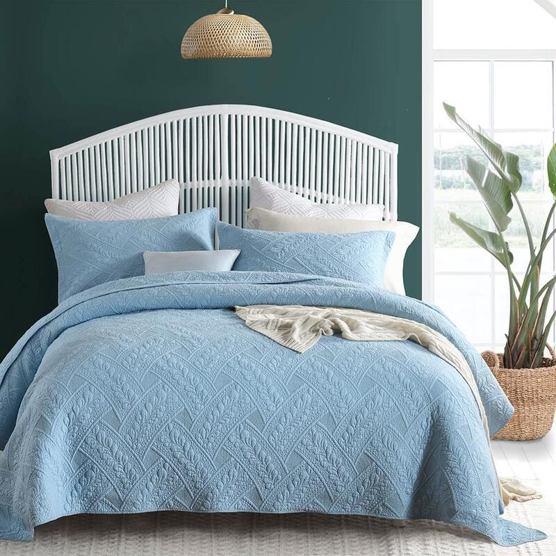 Luxury Quilted 100 Cotton Coverlet, Super King Bedding Set Blue