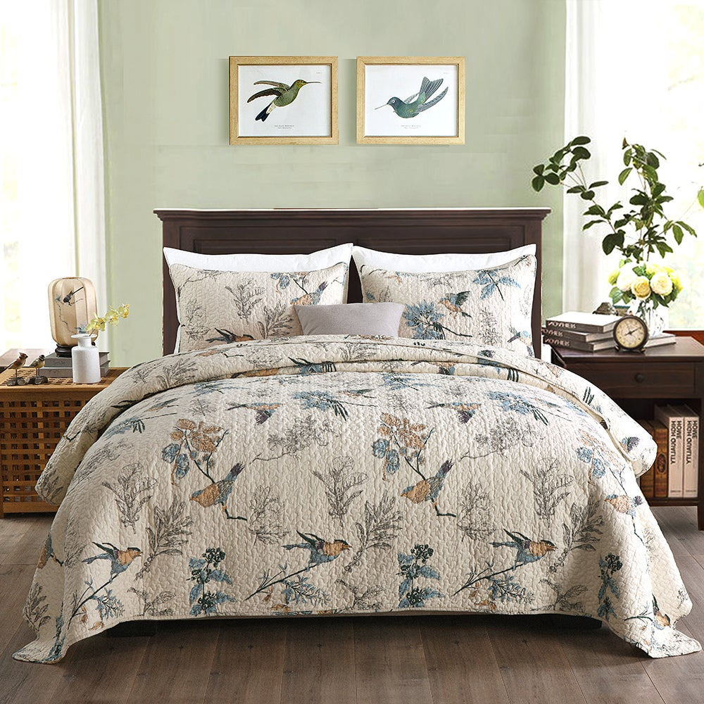 Luxury Quilted 100% Cotton Coverlet / Bedspread Set King / Super King Size Bed 270x250cm Bird