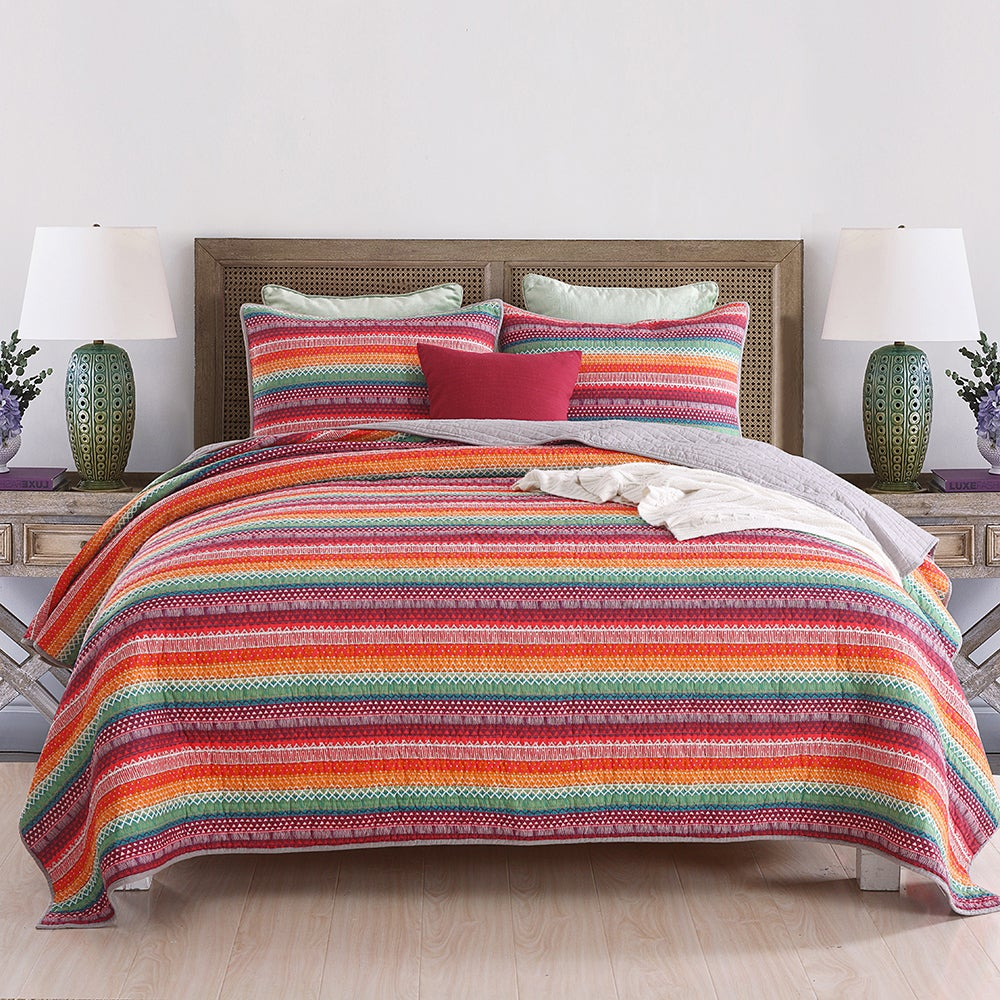 Luxury Quilted 100% Cotton Coverlet / Bedspread Set Queen / King Size Bed 230x250cm Colored Stripe