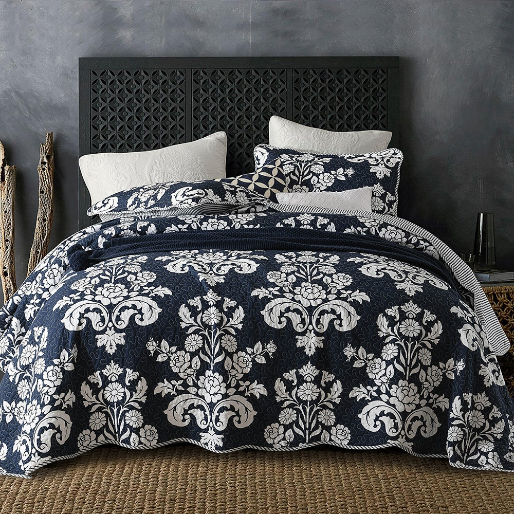 Luxury Quilted 100% Cotton Coverlet / Bedspread Set Queen / King Size Bed 230x250cm Navy