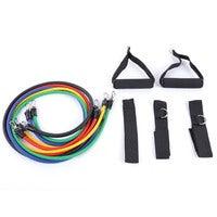 11pcs / Set Natural Tube Exercise Stretched Bands Elastic Training Pull Rope Yoga Pilates Workout Cordage