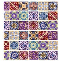 DIY Tile Decals Mexican Traditional Stair Stickers Removeable Waterproof Wallpaper Home Decor 7.1 x 39.4 inch 6pcs-Red