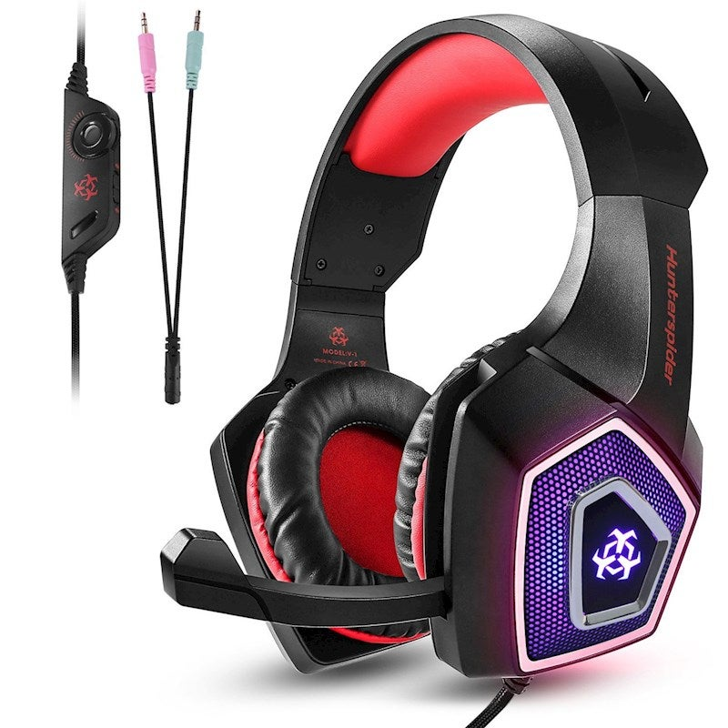 Universal Gaming Headset with Mic Ear Headphone Compatibility Headset for PS4 ,Xbox Laptop, Computer, Tablet, iPad, Mobile Phone-Red