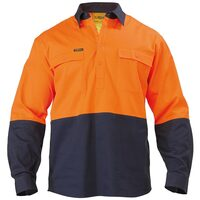 Bisley 2 Tone Closed Front Hi Vis Drill Shirt - Long Sleeve - Orange/Navy (BSC6267)