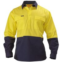 Bisley 2 Tone Closed Front Hi Vis Drill Shirt - Long Sleeve - Yellow/Navy (BSC6267)