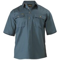 Bisley Closed Front Cotton Drill Shirt - Short Sleeve - Bottle (BSC1433)