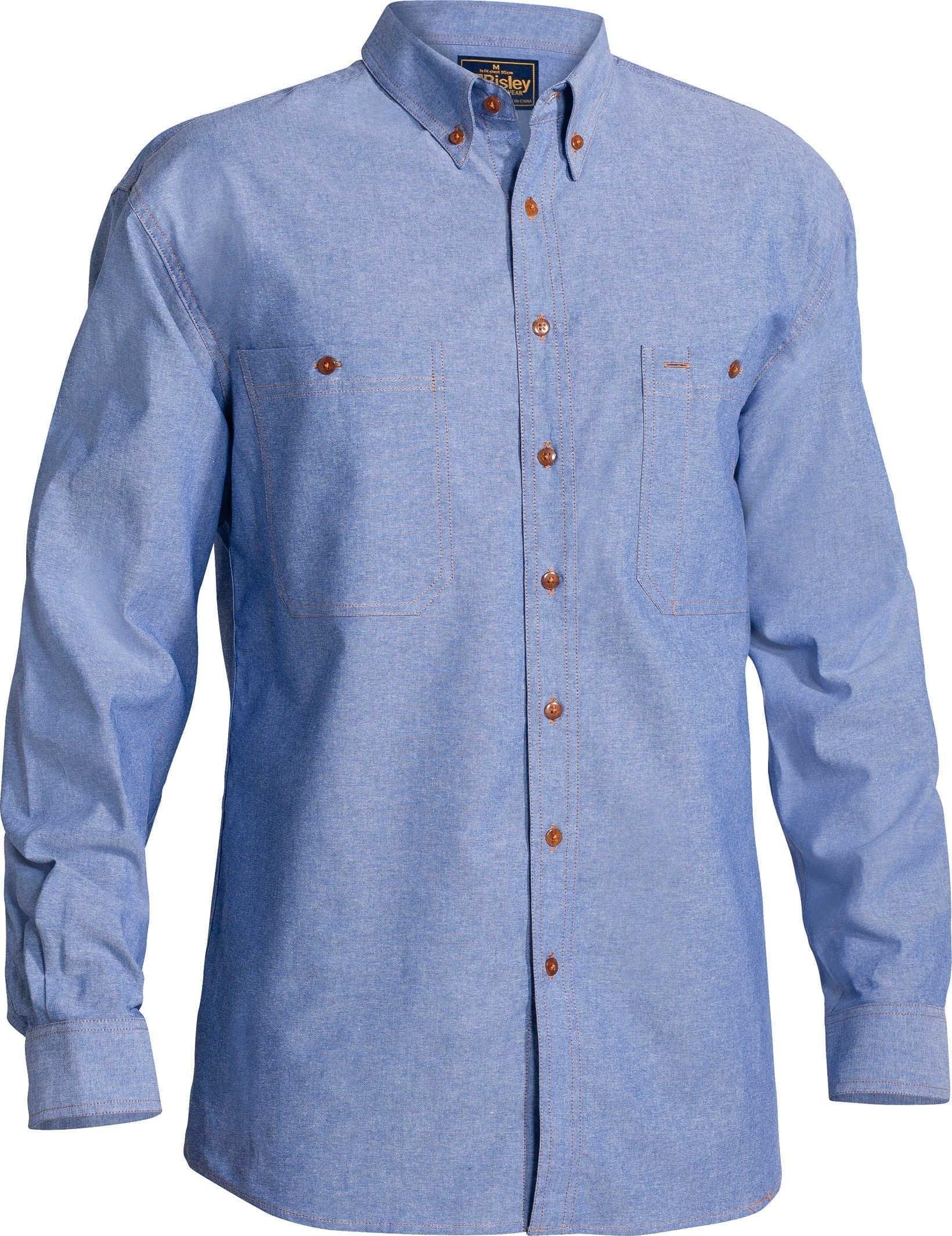 Bisley Chambray Shirt - Long Sleeve - Blue (B76407)
