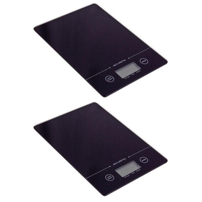 2PK Acurite Slim Line Glass 5kg Digital Kitchen Food/Nutrition Scale Weight BLK