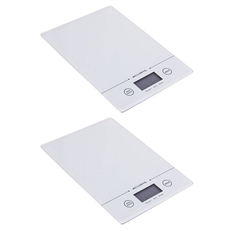 2PK Acurite Slim Line Glass 5kg Digital Kitchen Food/Nutrition Scale Weight WHT