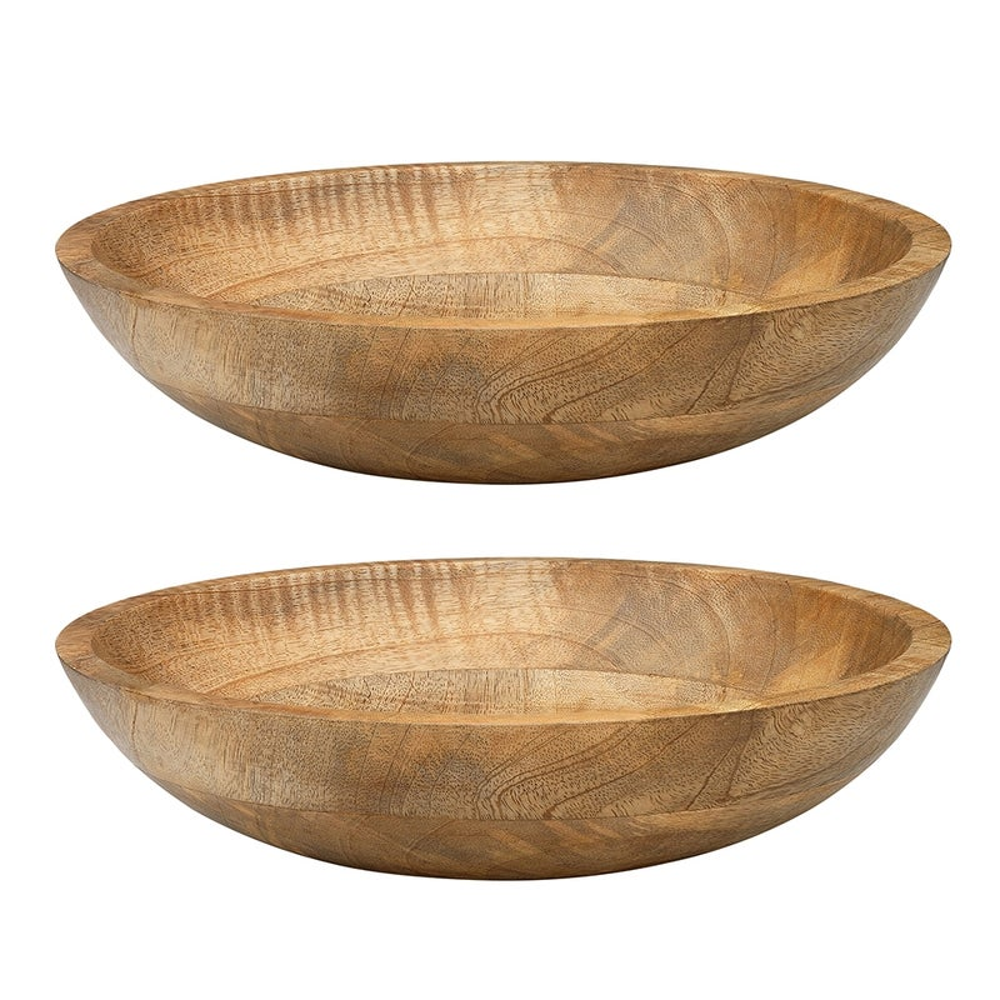 2PK Ecology 30cm Arcadian Salad/Food Dinner Serving Bowl Natural Mango Wood