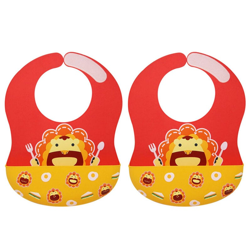 2PK Marcus & Marcus Wide Coverage Silicone Bib Feeding Baby/Infant 6m+ Liod Red