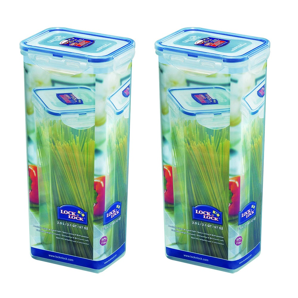 2x Lock & Lock 2L Pasta Tall Box Plastic Storage Container Pantry Organisation
