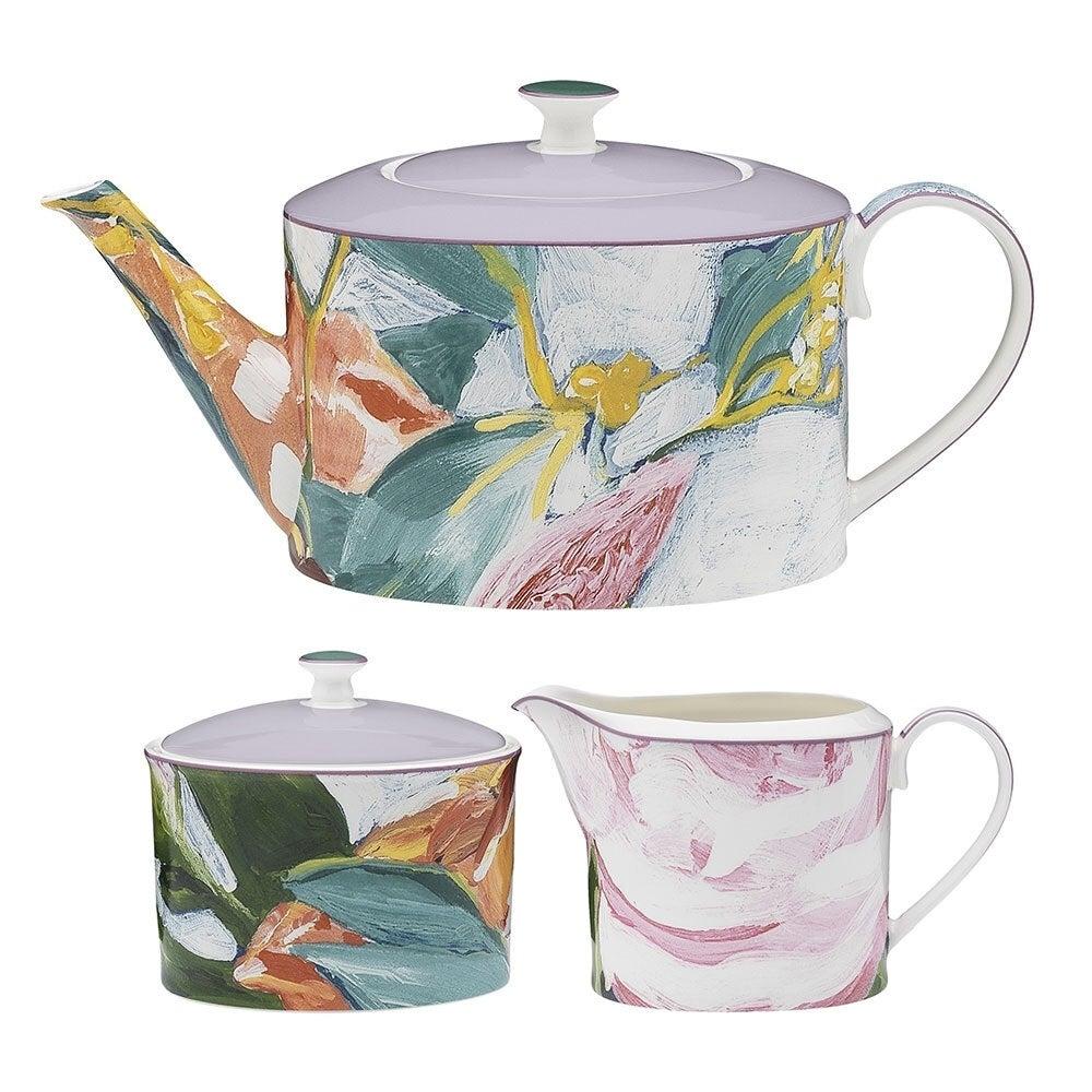 3PK Ecology Bloom Floral 1L Teapot/9.5cm Sugar Bowl/13cm Creamer Container Set