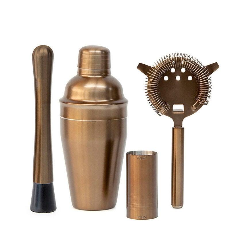 4pc Salt & Pepper Bond 500ml Shaker/Jigger/Muddler/Strainer Cocktail Set Bronze