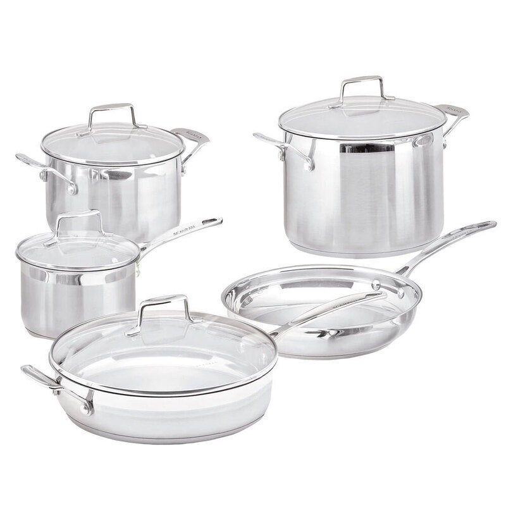 5pc Scanpan Stainless Steel Cookware Set Sauce Frying Pan Stock Pot w/Lid Silver