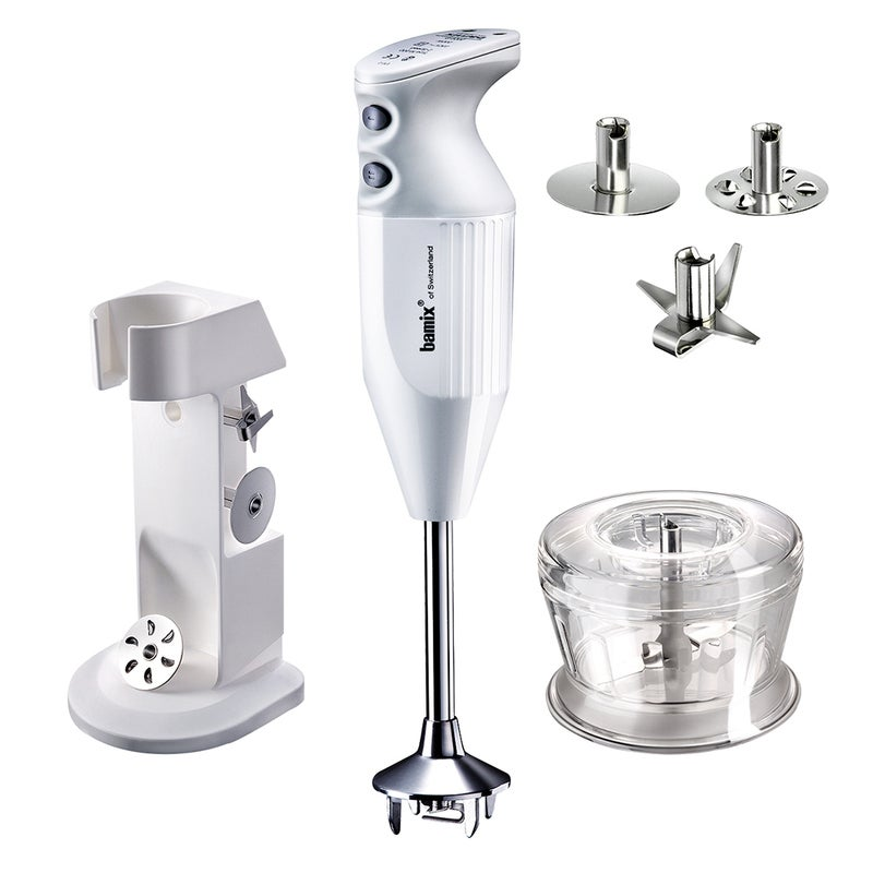 Bamix Deluxe 180W Electric Hand Blender Beat/Shred/Chop Mixer w/Stand/Grider WHT