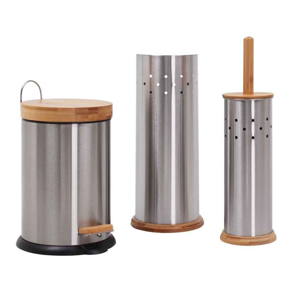 Eco Basics Bathroom Set 3L Rubbish Bin/Toilet Brush/Roll Holder Stainless Steel