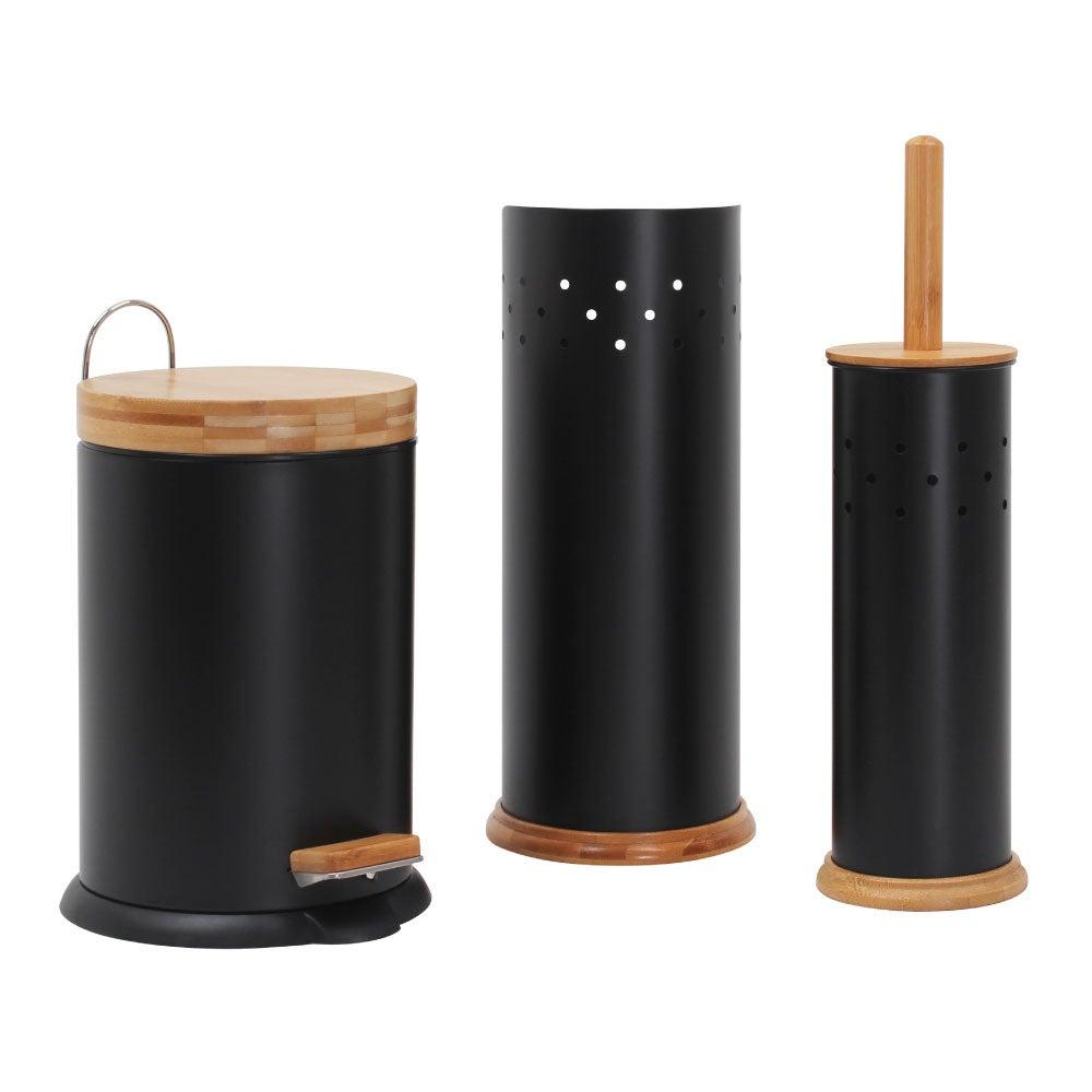 Eco Basics Bathroom Set w/ 3L Rubbish Bin/Toilet Brush/Toilet Roll Holder Black