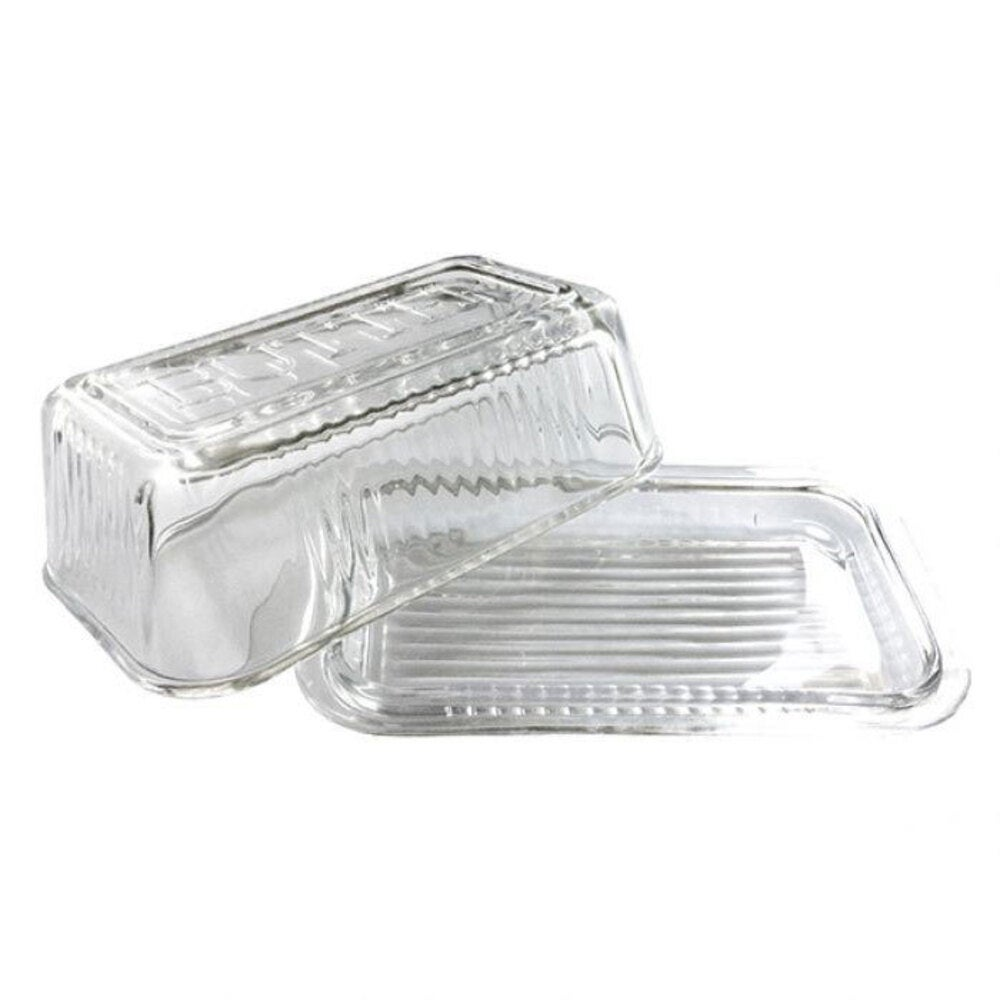 Kitchen Works Glass Butter Dish w/ Lid Container/Holder Storage Clear