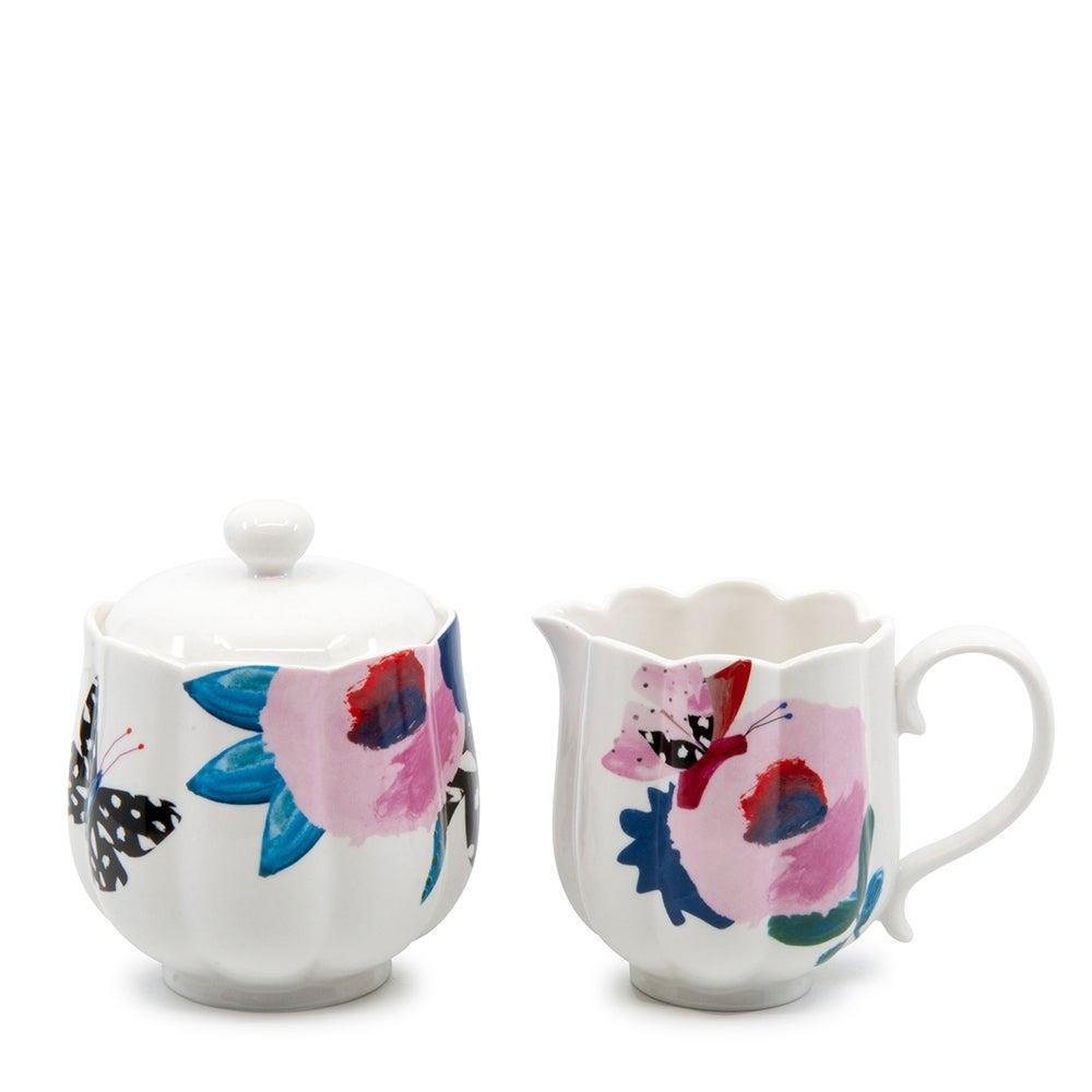 Salt & Pepper Willow Tea/Coffee 280ml/200ml Teaware Sugar Bowl and Creamer Set