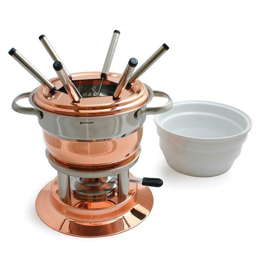 Swissmar Lausanne 11pc Copper/Stainless Steel Fondue 1.8L Pot Set w/Fork/Burner
